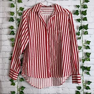 ZARA Red White Stripes Button Up High Low Top